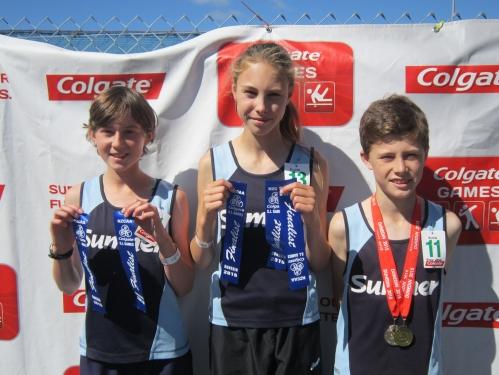 Beth Hunter (11), Victoria Wells (13), John Wells (11) – Colgate Games Dunedin