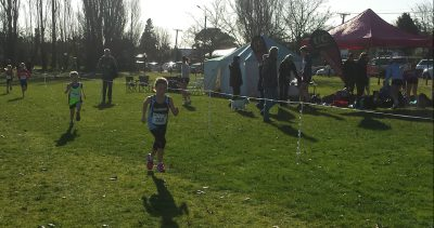 Lucy leading the way, showing some good running form!